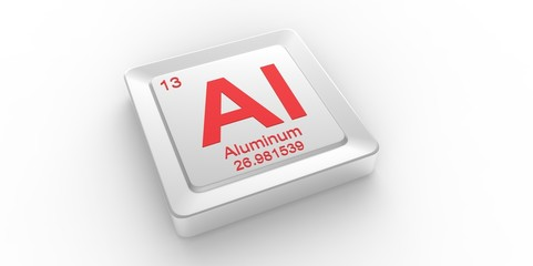 Al symbol 13 for Aluminum chemical element of the periodic table