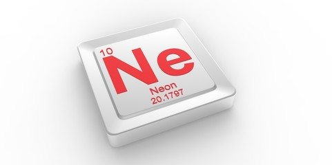 Ne symbol 10 for Neon chemical element of the periodic table