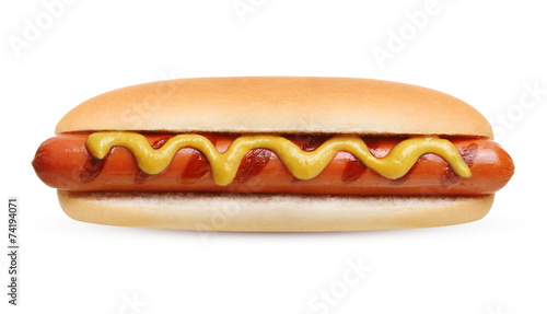 Hot dog grill with mustard - 74194071