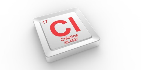 Cl symbol 17 for Chlorine chemical element of the periodic table