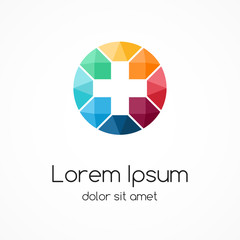 Plus logo. Medical healthcare hospital symbol.