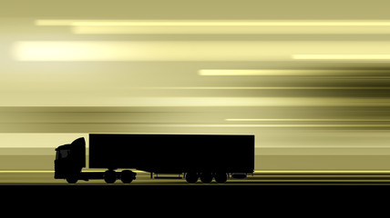 Silhouette of driving truck on highway
