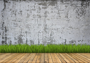 Background: brick wall and wood floor and grass
