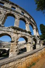 Croatia, Pula, Ruins of a Roman amphitheatre built in the first