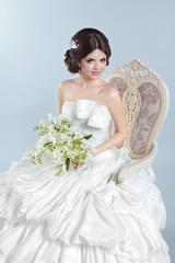 Beautiful bride girl wearing in wedding dress with voluminous sk