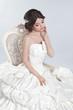 Bride. Beautiful brunette woman wearing in modern wedding dress