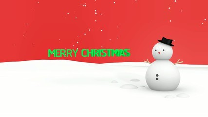 Merry christmas and Snowman Red background