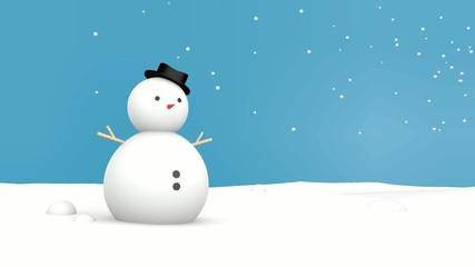 Merry christmas and Snowman Blue background