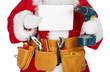 Leinwandbild Motiv Santa Claus with a tool belt.