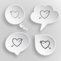 Heart and arrow. White flat vector buttons on gray background.