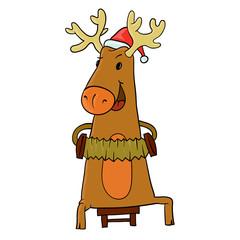 reindeer and Santa hat