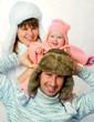 happy family in a warm fur hat. winter season.
