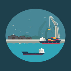 Cargo ship loading containers on board. Infographic illustration