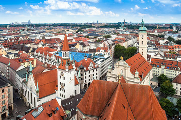 Panoramic cityscape in Munich, Bavaria, Germany