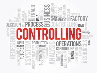 Word cloud of Controlling related items, vector background