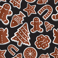 christmas various gingerbread symbols seamless pattern eps10