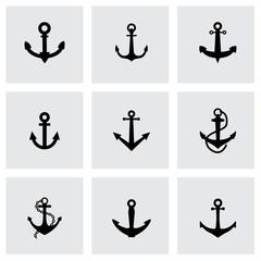 Vector black anchor icon set