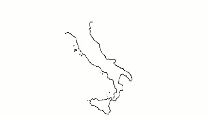 italy map hand draw