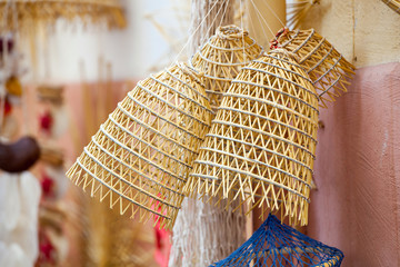 Old fishing nets made of straw and handmade