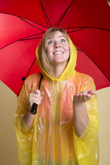 Rain check woman in yellow poncho