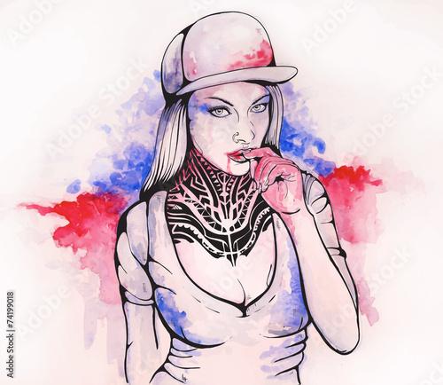 Fototapeta girl in a cap and tattoos