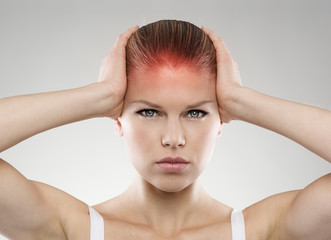 Head pain or injury. Stressed female suffering from dizziness