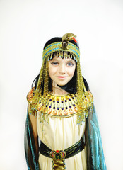 Young girl dressed in Egyptian costume isolated