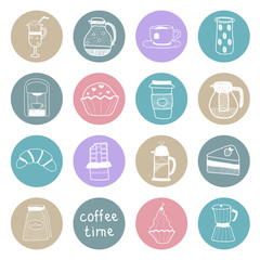 Coffee colored flat icons