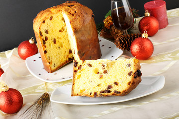 Slice of cake in the Christmas table