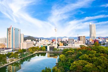 Panoramic view on Hiroshima.  Japan.
