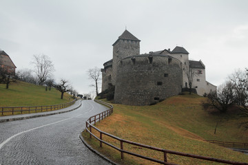 Road and castle. Vaduz, Liechtenstein