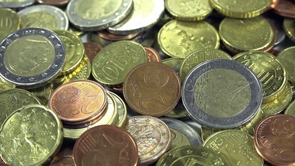 Euro Coins as close-up 4K UHD dolly footage