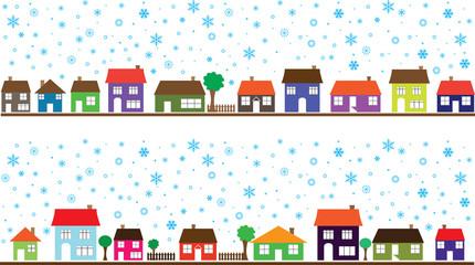 Colored neighborhood with snowflakes