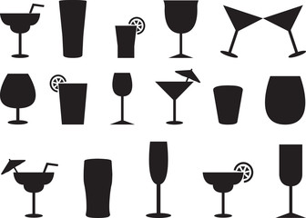 Juice and cocktail glasses illustrated on white