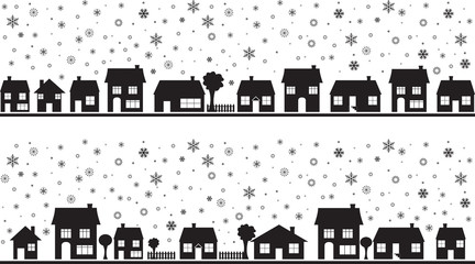 Neighborhood with snowflakes illustrated on white