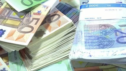 European Banknotes (dolly shot)