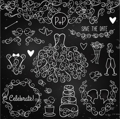 Hand Drawn Chalkboard Wedding Vector Set with Dress, Tuxedo and