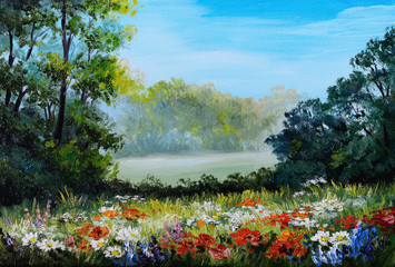 Oil Painting - field with flowers and forest abstract drawing