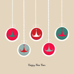 Happy new year ornament pine tree greeting card