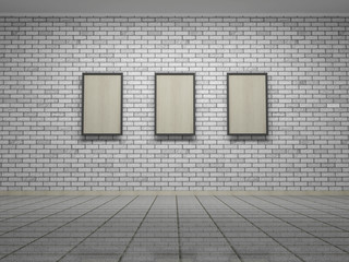 Picture frames or photos on the white bricks wall of the room