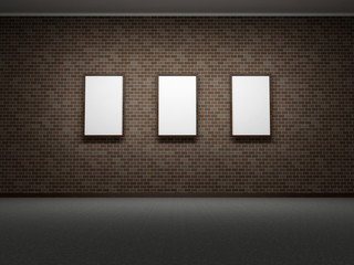 Picture frames or photos on the dark bricks wall of the room