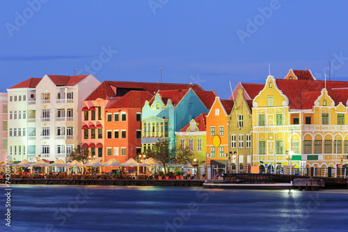 Willemstad at twilight. Curacao, Netherlands Antilles - 74201476