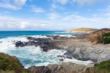 Newquay coast Cornwall England UK at Little Fistral and Nun Cove