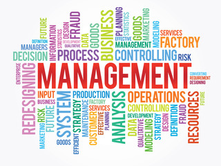 Word cloud of MANAGEMENT related items, vector background