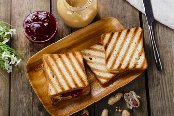 peanut butter sandwich with jam