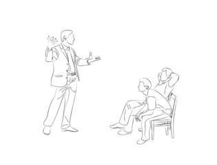 Doodle Sketch two men sit on chairs