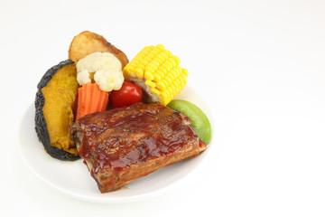 food pork spare ribs barecue and sidedish