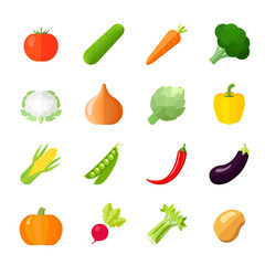 Vegetables Icons Flat