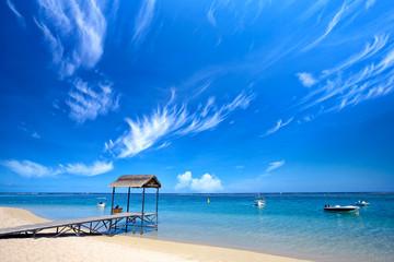 Scenic view of tropical beach, Mauritius Island