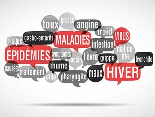 nuage de mots : maladies épidémies hiver
